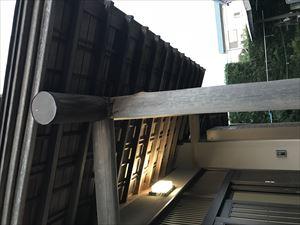 玄関ポーチの軒天井