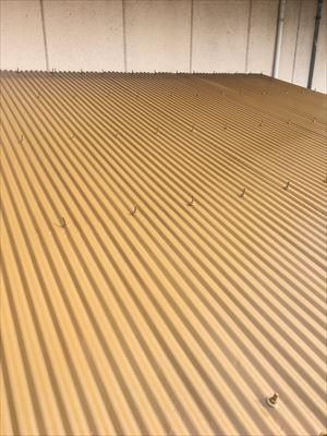 仕上げ塗装されたトタン屋根
