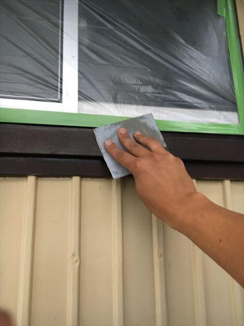塗装前の窓枠の下地処理