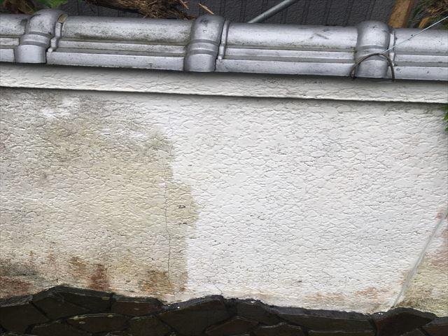 住宅の塀の高圧洗浄途中経過